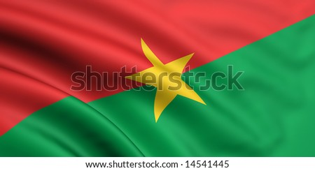 3d rendered and waving flag of burkina faso