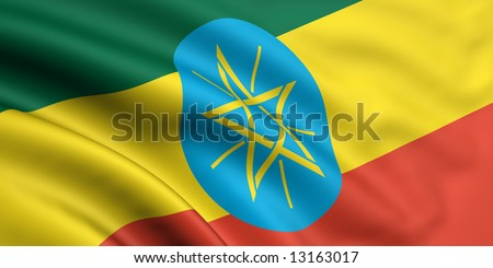 3d rendered and waving flag of ethiopia