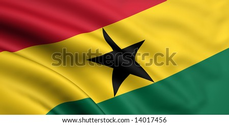 3d rendered and waving flag of ghana