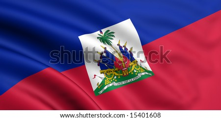 3d rendered and waving flag of haiti