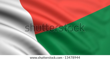 3d rendered and waving flag of madagascar - stock photo