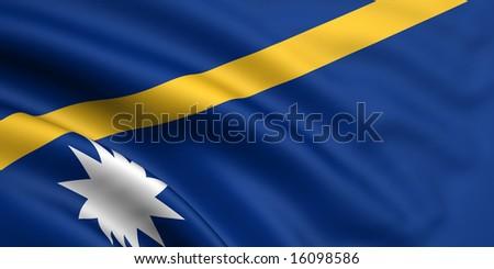 3d rendered and waving flag of nauru