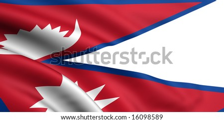 3d rendered and waving flag of nepal