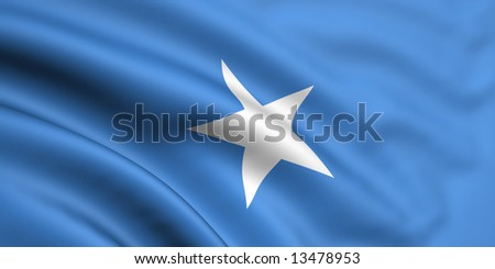 3d rendered and waving flag of somalia