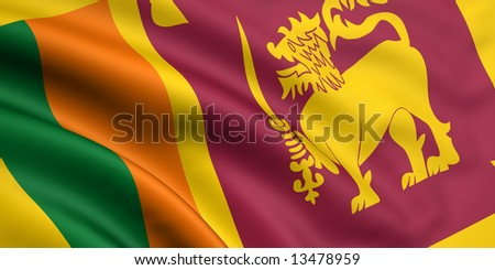 3d rendered and waving flag of sri lanka - stock photo