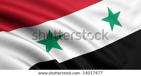 3d rendered and waving flag of syria