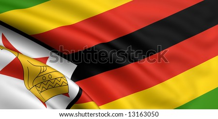 3d rendered and waving flag of zimbabwe