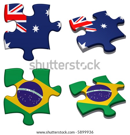 3d rendered Australia and Brazil puzzles isolated