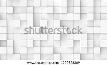 3d rendered background texture of white round edged cubes at very different heights.