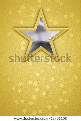 3D rendered background with a gold and silver star, and small gold stars.