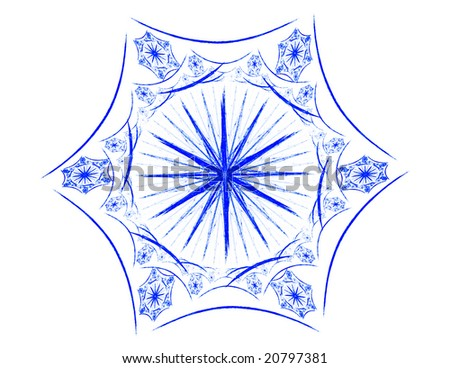 3D rendered beautiful blue snowflake isolated on white background.