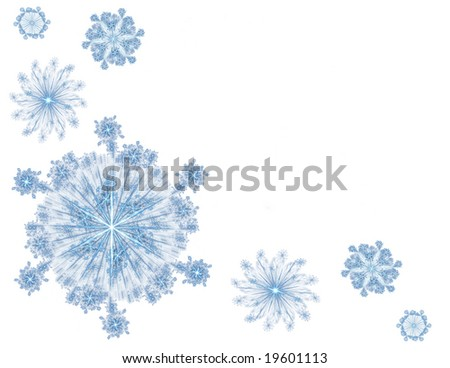 3D rendered beautiful blue snowflakes isolated on white background-ideally for Christmas postcards.