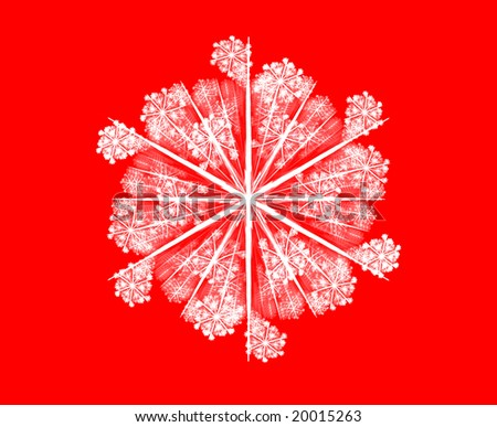 3D rendered beautiful white snowflake isolated on red background.