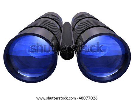 3D rendered binoculars on isolated white background