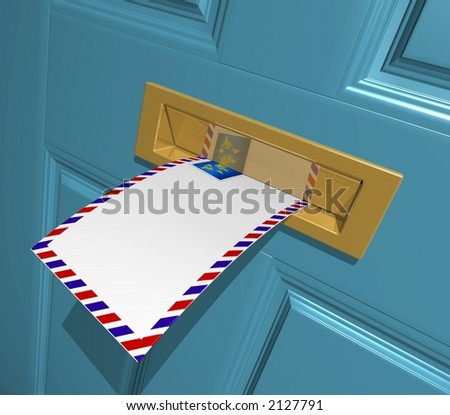 3D Rendered blank letter in the letterbox