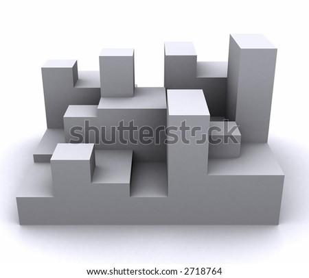 3d rendered blocks represent network, city etc