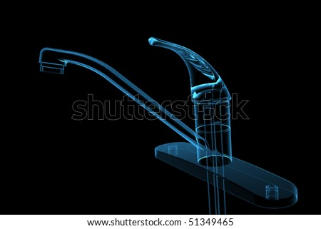 3D rendered blue transparent glowing kitchen faucet