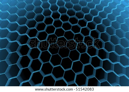 3D rendered blue xray transparent abstract hexagon - stock photo