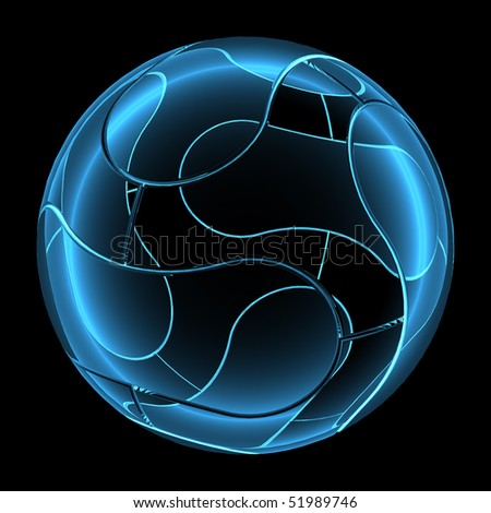 3D rendered blue xray transparent modern ball - stock photo