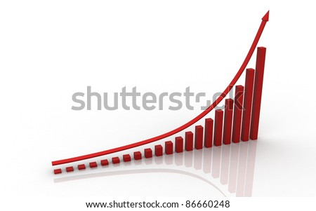 3d rendered business graph isolated on white