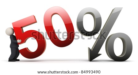 3d rendered business man in black suit carrying a fifty percent sign - Image on white background with soft shadows