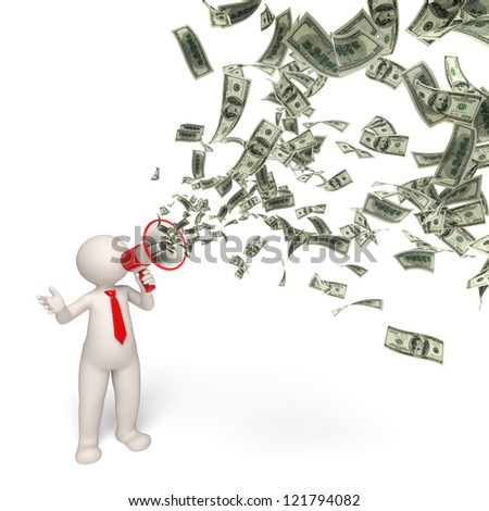 3d rendered business man speaking through a money megaphone - business motivation concept