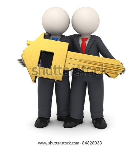 3d rendered business partners in black suit holding a gold house key in their hands - Isolated
