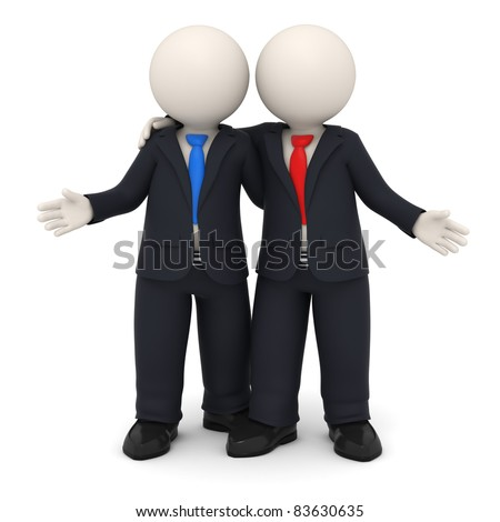 3d rendered business partners in black uniform embracing each other - Image on white background with soft shadows