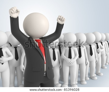 3d rendered business team and their boss with his hands up in the air - Success in business concept
