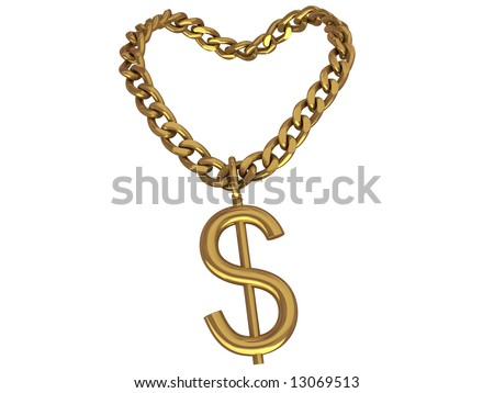 3d rendered chain with symbol, isolated on white. - stock photo