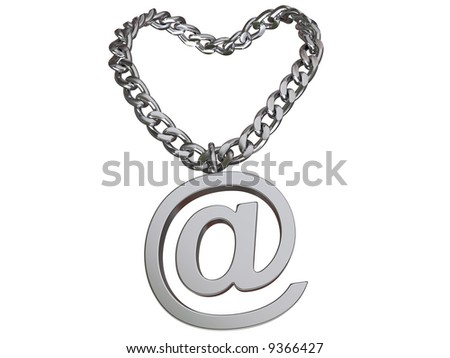 3d rendered chain with symbol, isolated on white.