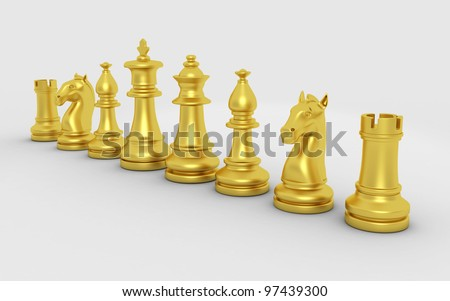 3d rendered chess pieces isolated on a white background #97439300