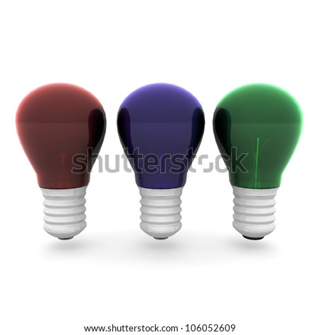 3D rendered color Bulb set