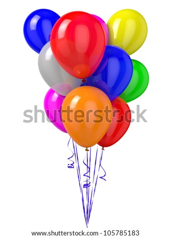 3D rendered colorful balloons isolated on white background.