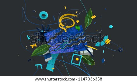 3D rendered composition made of of bright and colorful strange shapes and objects