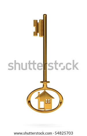 3d rendered creative of gold house key