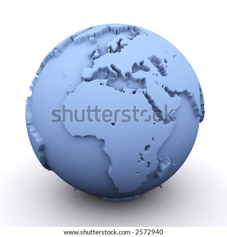 3d rendered earth showing the europe and africa