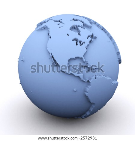 3d rendered earth showing the north and south americas