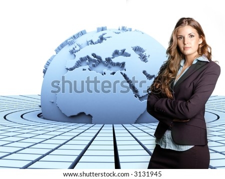 3d rendered earth with a businesswoman in front of it
