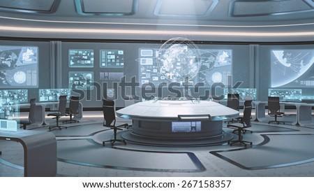 Shutterstock 3D rendered empty, modern, futuristic command center interior