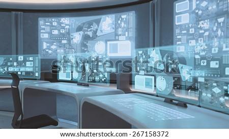 3D rendered empty, modern, futuristic command center interior Foto d'archivio ©