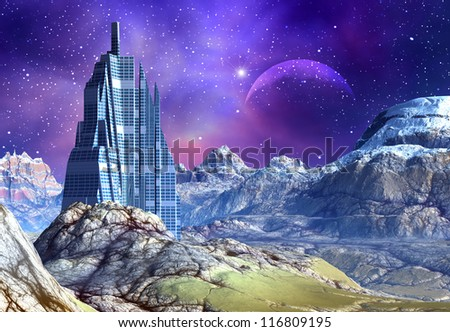3D Rendered Fantasy Alien Planet With Building