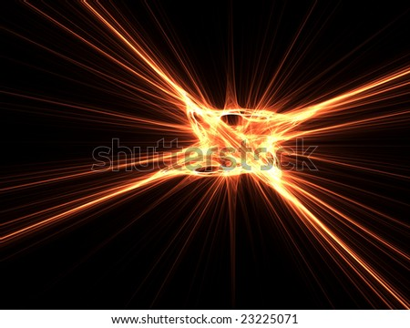 3D rendered fractal, fire explosion shape-like, isolated on black background.