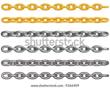 3d rendered gold, aluminum and dirt metal chains isolated on white