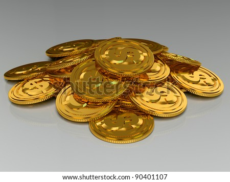 3d rendered gold coins isolated on grey - stock photo