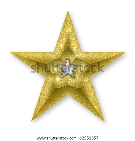 3D rendered gold star, with texture mapping and an inner silver star.  Clipping path supplied.
