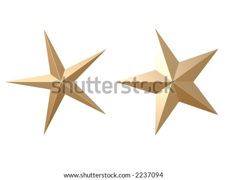 3d rendered, golden stars