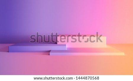 3D rendered gradient cubes in soft pastel colors. Geometric shapes composition with empty space for product design show. Minimalistic banner background.