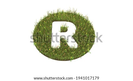 3d rendered grass field with colorful flowers in shape of symbol of letter r in circle with ground isolated on white background Photo stock ©