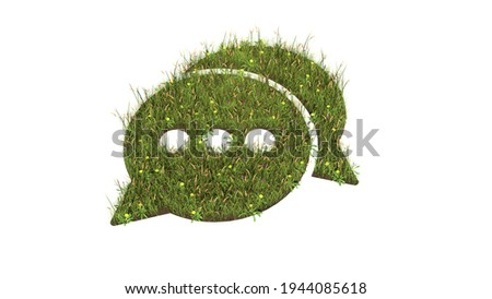 3d rendered grass field with colorful flowers in shape of symbol of two rounded chat bubbles with three dots with ground isolated on white background Photo stock ©